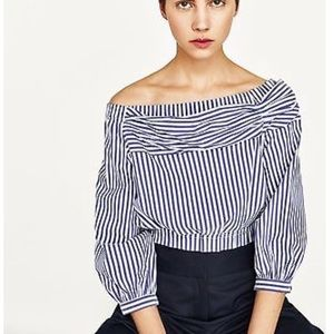 ZARA OFF-THE-SHOULDER STRIPED BLOUSE CROP TOP